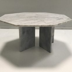 white hexagon marble coffee table